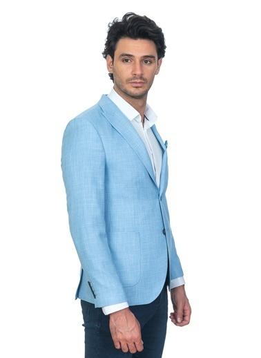 White Stone Henry Ceket Slim Fit 6 Drop Desenli Mavi Mavi